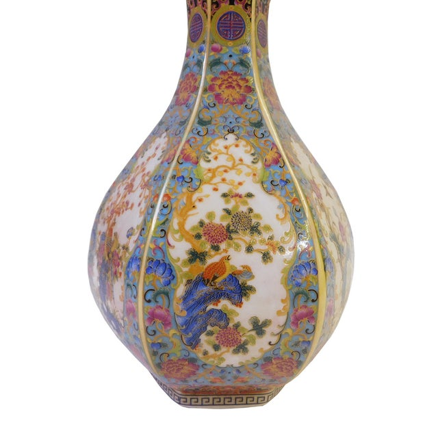 Image of Floral Hexagon Porcelain Vase