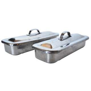 Vintage Stainless Steel Medical Instrument Tray - Pair