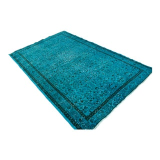 "Cyan Overdyed Turkish Hand Knotted Rug - 5'4"" X 8'6"""