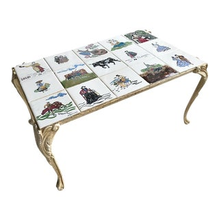 Spanish Hand-Painted Tile Iron Coffee Table Signed by Artist
