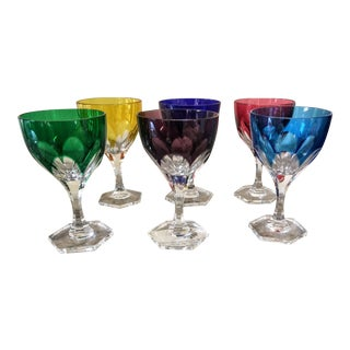 Faberge Paris Cased Crystal Short European Wine Water Goblets - Set of 6