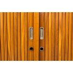 Image of Mid-Century Oak Tall Tambour Sideboard