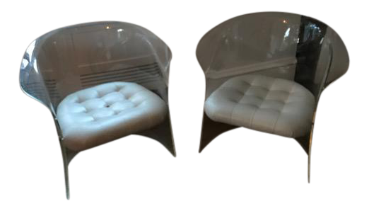 lucite u0026 white leather club chairs a pair - Leather Club Chairs