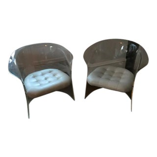 Lucite & White Leather Club Chairs - A Pair