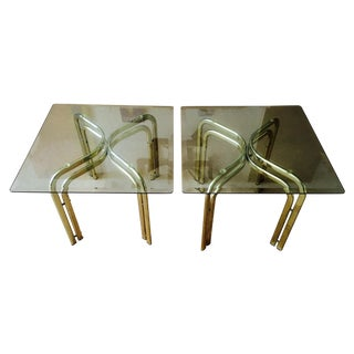 Mod Brass & Glass Side Tables - a Pair