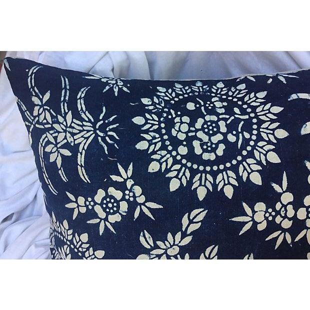 Antique Floral Indigo Batik Pillows - A Pair - Image 2 of 5
