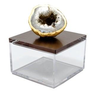 Metallic Gun Metal Gem Box W/ Oco Geode