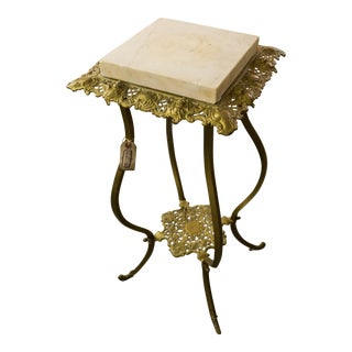 Vintage Brass Base Marble Top Side Table Victorian Era