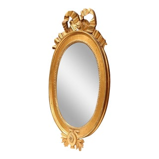 18th Century French Louis XVI Carved Oval Gold Leaf Ribbon Bow Mirror