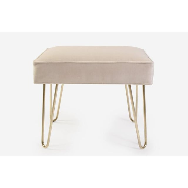 Petite Brass Hairpin Ottomans in Oyster Velvet by Montage - Image 2 of 8
