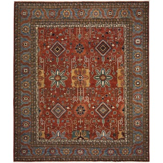 Traditional Red Hand-Knotted Rug- 8′1″ × 9′6″