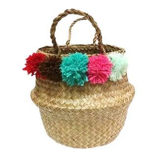 Pom Pom Sea Grass Belly Basket