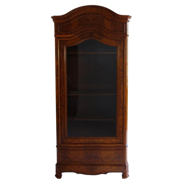 Image of Traditional Glass Front Cabinet with Burl Veneers