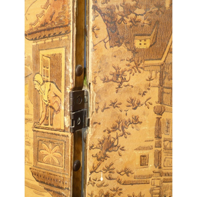 Vintage French Country Yellow 3 Panel Folding Screen - Image 8 of 11