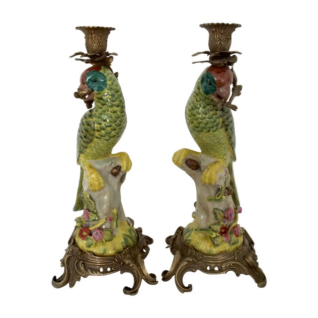 Image of Vintage Green Parrot Candle Holders - a Pair