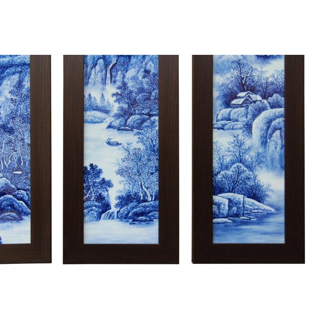 Image of Chinese Blue & White Porcelain Wall Panels - Set of 4