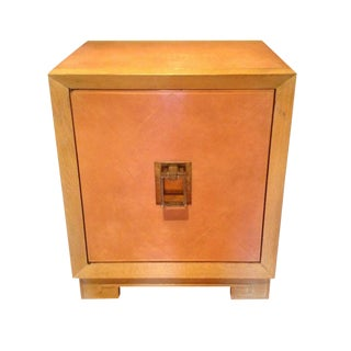 Tommi Parzinger Style Pink Leather & Wood Cabinet