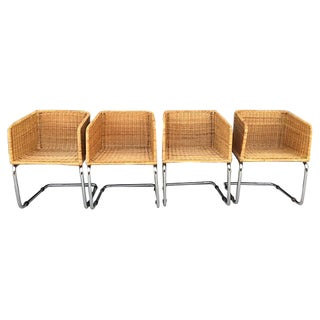 Rattan & Chrome Cantilevered Chairs - Set of 4
