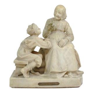 Vintage Carved La Favola Della Nonna Marble Statue