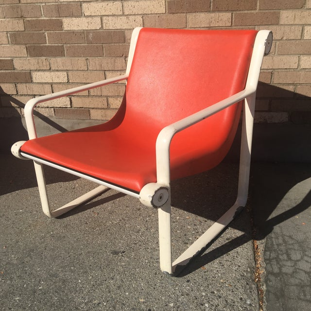 Knoll Iconic Orange Shell Lounge Chairs - A Pair - Image 6 of 8