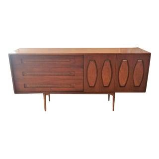 Mid-Century Modern Walnut Sliding Panels & Glass Dresser