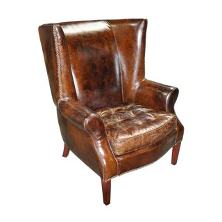 Vintage Leather Side Chair by Noir