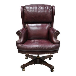 North Hickory Furniture Burgundy Leather Chair