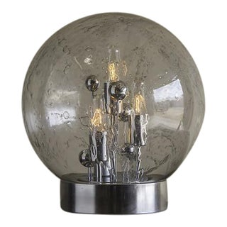 Doria Hand Blown Glass Sphere on Chrome Base Lamp, Italy c.1970 View Details