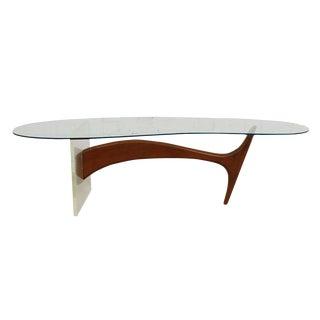 Vladimir Kagan Style Lucite, Glass & Walnut Whale Coffee Table