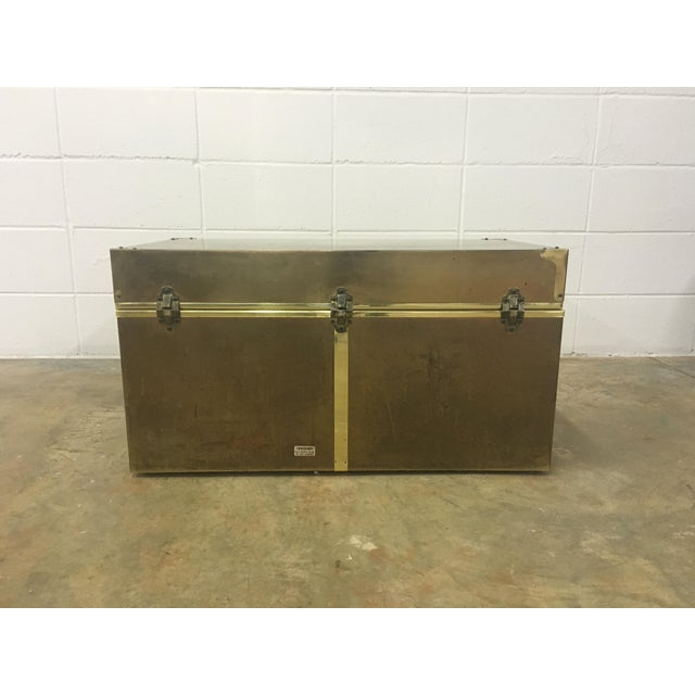 Dresher Cedar Lined Brass Trunk With Glass Top - Image 3 of 11