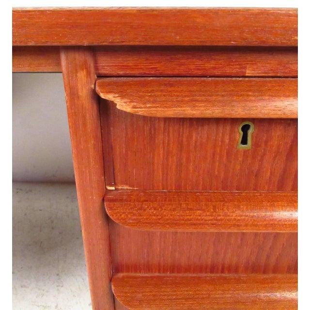Double-Sided Scandinavian Modern Teak Desk - Image 2 of 9