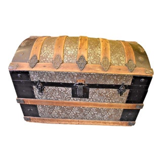 Antique Oak Slat Dome Top Steamer Trunk