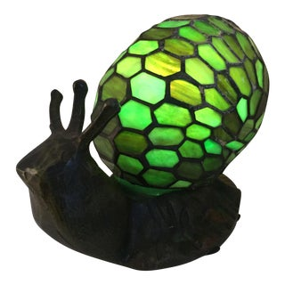 Tiffany Style Green Snail Lamp