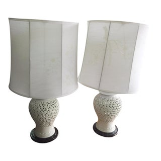 """Seyei Blanc De Chine"" Ceramic Lamps With Silk Shades - A Pair"