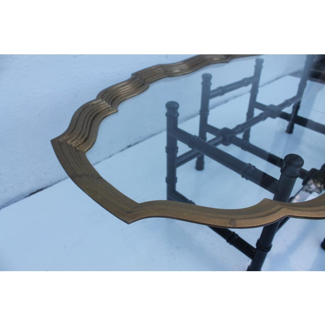 Brass Tray Coffee Table Vintage: Vintage Brass & Glass Tray Coffee Table