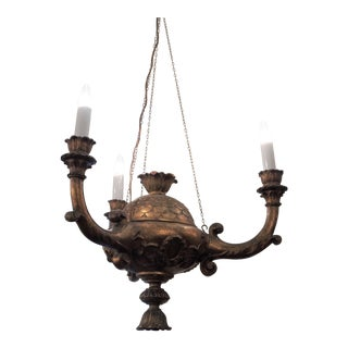 Italian Three Arm Giltwood Chandelier