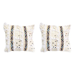 Handmade Off-white Moroccan Wedding Pillow- A Pair