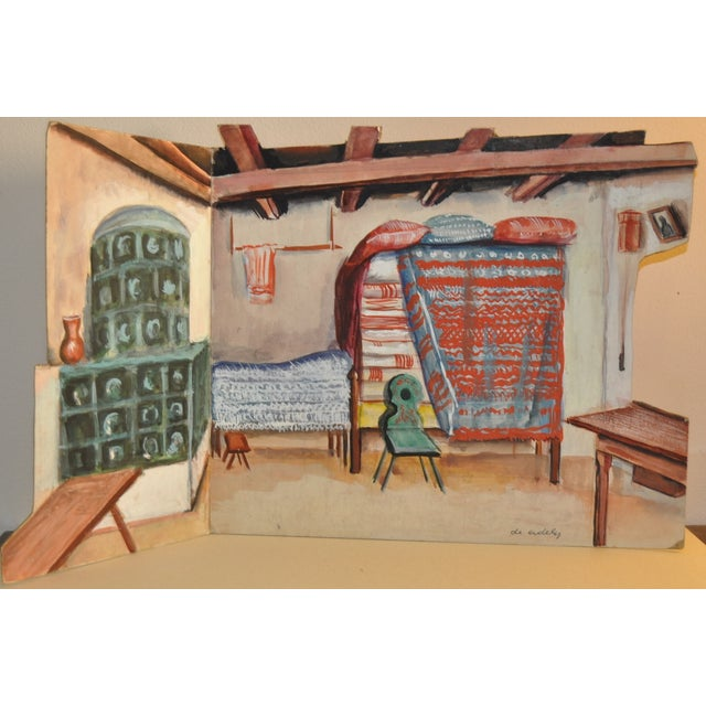 Image of 1940's Modern Set Design Painting by F.D. Erdely