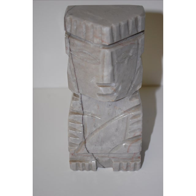 1950s Gray Marble Aztec Bookends - Image 3 of 7