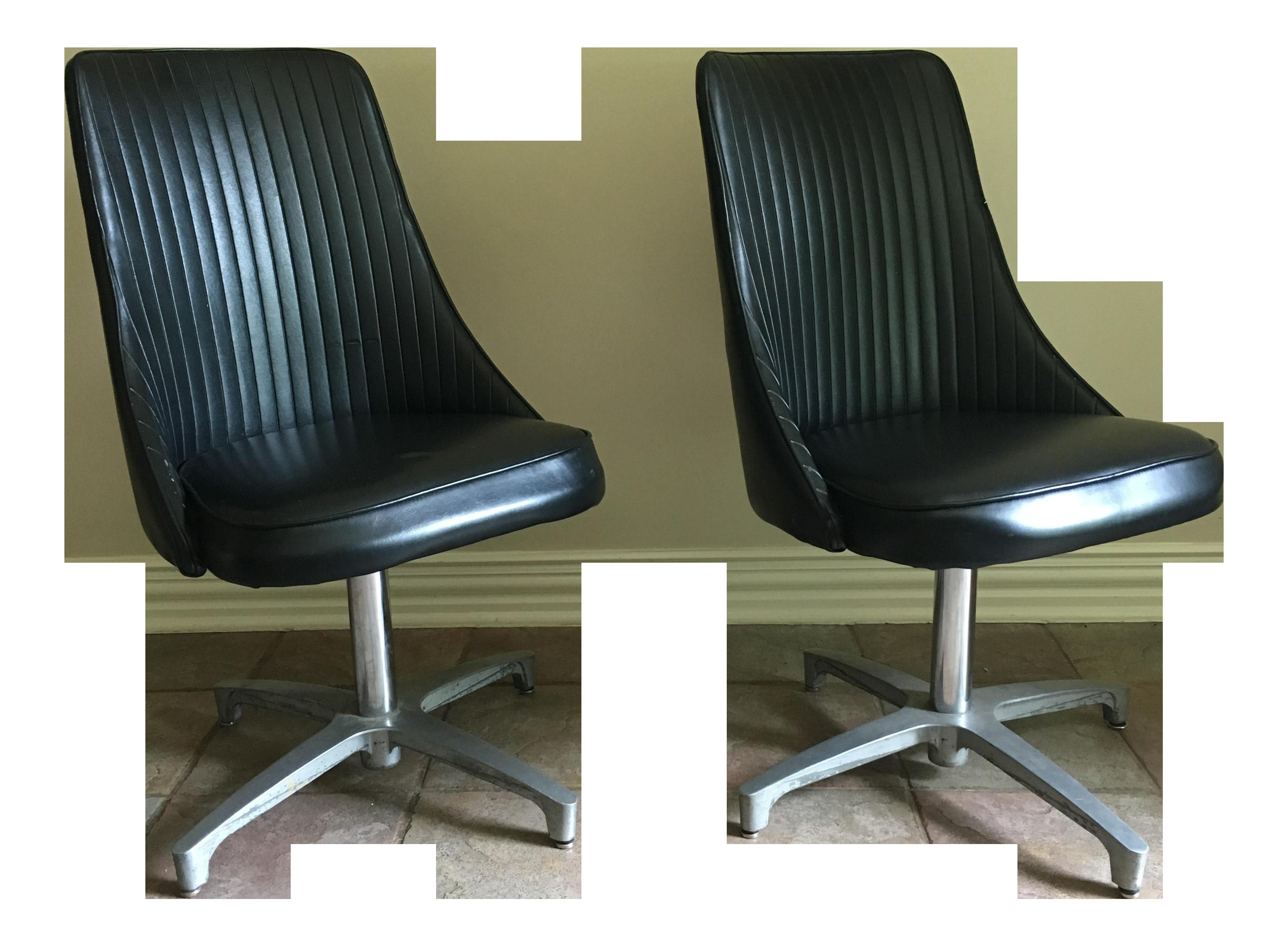 Vintage Chromcraft Black Chairs A Pair