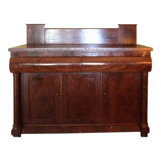 Antique Empire Style Mahogany Veneer Sideboard