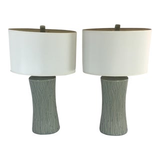 Modern Ceramic Crackle Glaze Lamps - A Pair
