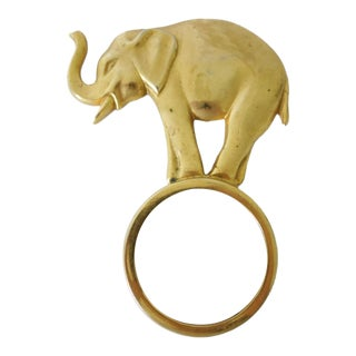 Brass Elephant Magnifying Glass Paperweight Décor Object