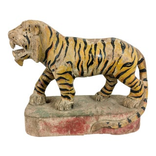 Carved Wood Asian Bengal Tiger Sculpture