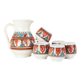 Red Pitcher & Cups Set