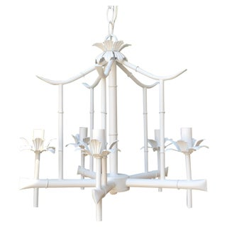 Hollywood Regency Tole Bamboo Pagoda Chandelier