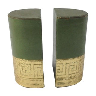 Greek Key Leather Bookends