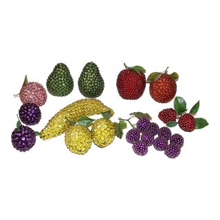 Beaded Pin Sequin Fruit - Set of 12