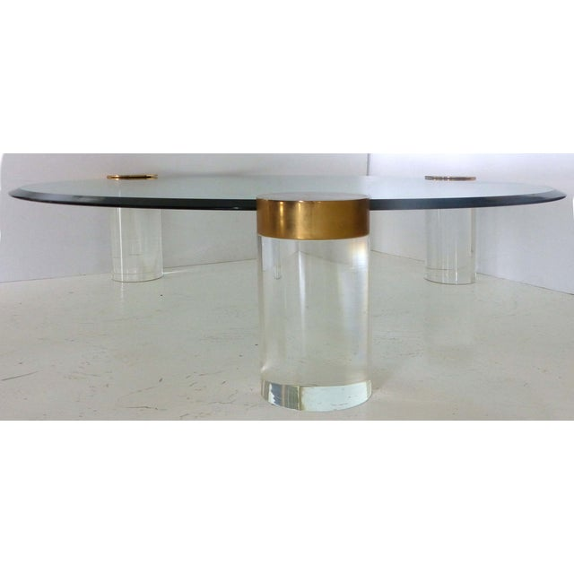 Image of Karl Springer Attri. Lucite & Brass Coffee Table