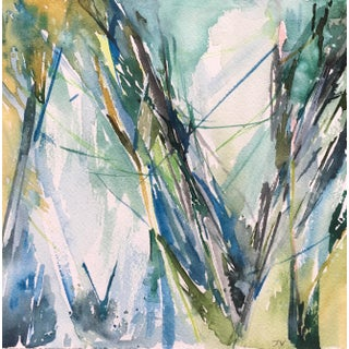 "Jenny Vorwaller Abstract ""Seaweed"" Watercolor Painting"